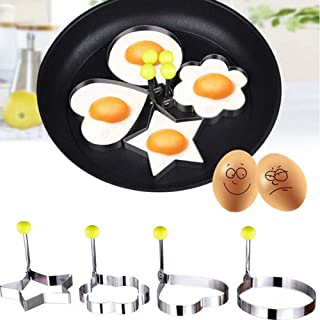 Honmofun Fried Egg Mold Pancake Ring Stainless Steel Non Stick Egg Shaper Ring Kitchen Cooking Tools for Kids and Lovers