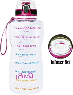 BuildLife Half Gallon Water Bottle(64OZ/43OZ) with Fruit Net & Time Marker-Tracker Helps You Drink More Daily-Leakproof Lid for Running, Gym, Outdoors and Camping