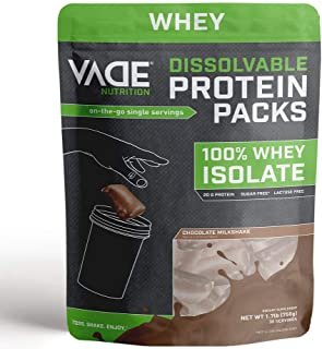Vade Nutrition Dissolvable Protein Packs | Chocolate Whey Isolate Protein Powder, On-The-Go, Low Carb, Low Calorie, Lactos...
