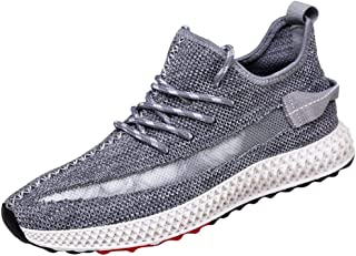 NUWFOR Men's Fashion Breathable Lace-up Sport Athletic Walking Running Shoes Sneakers(Gray,9.5 M US Length:10.4