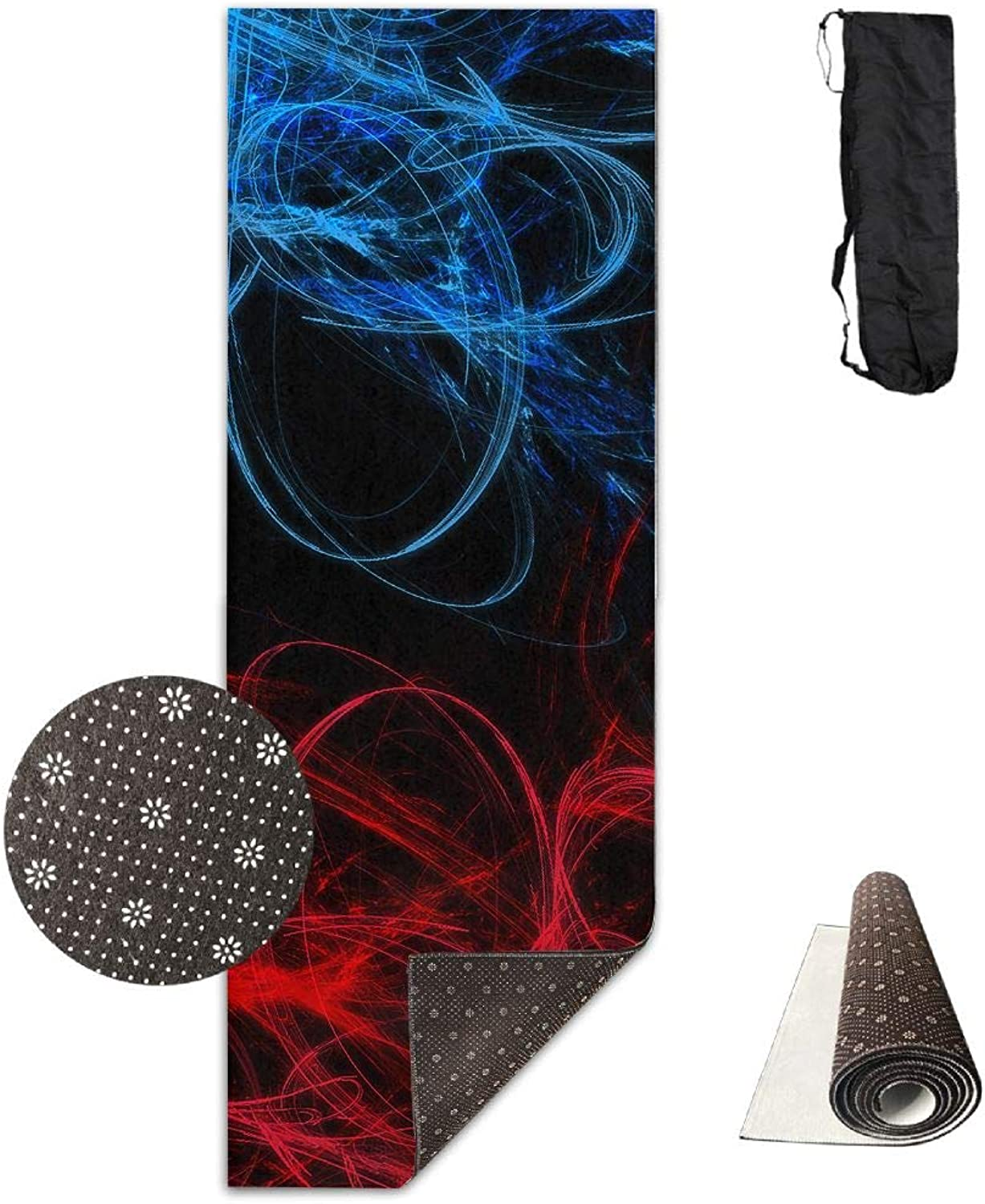 Yoga Mat Non Slip 24  X 71  Exercise Mats Abstract Circles Lines Premium Fitness Pilates Carrying Strap