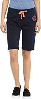 KVL Women's Regular Fit Solid Jogger Shorts - (Navy)