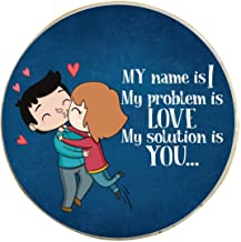 Yaya Cafe Valentine Gifts for Girlfriend Boyfriend Husband Wife Fridge Magnet I Love You Printed - Round