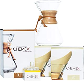 Chemex Classic Wood Collar and Tie Glass 50 Ounce Coffee Maker with Cover and 200 Count Bonded Unbleached Pre-Folded Square Coffee Filters