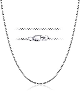 YFN Sterling Silver 1 mm Box Chain Necklace, 14