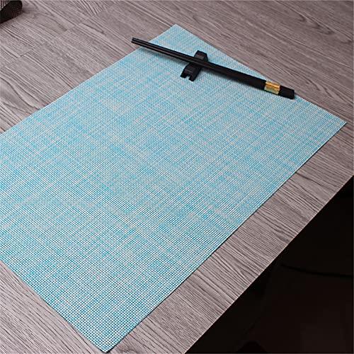 Manteles individuales,Mantel individual occidental de hotel de estilo japonés, almohadilla de aislamiento térmico gruesa de lino de estilo europeo 4 piezas-azul