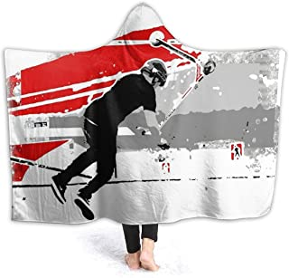 Cupaate Hooded Blanket 3D Spinning The Deck - Tail-Whip Scooter Stunt Super Soft Sherpa Fleece Blanket 80