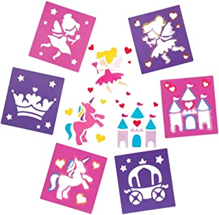 Baker Ross Fairy Princess Stencil Set for Arts and Crafts — Novelty Toys for Kids, Perfect Party, Loot or Prize Bag Filler (Pack of 6)