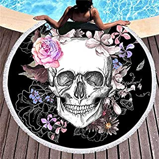 Morinostation Skull Round Beach Towel Blanket Skeleton Flower Roundie Beach Blanket Line Art Round Beach Blanket (Pink Rose, 60