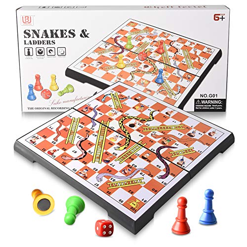 Magnetic Folding Snakes & Ladders Game Set 11.8 inch Portable Family Fun Board Game for All Ages-in Storage(Large Size 30x30cm )