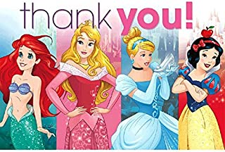 Disney Princess Sparkle Birthday Party Thank you Cards Supply (8 Pack), Pink, 6 1/4