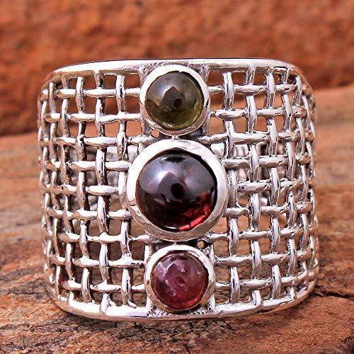 Garnet 925 Sterling Silver Rings for Women, Red Bridesmaid Rings, Round Gemstone Rings, Wide Rings, bezel Set Handmade Rings