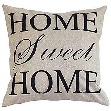 Onker Cotton Linen Square Decorative Throw Pillow Case Cushion Cover 18  x 18  Home Sweet Home Love in Simple Words