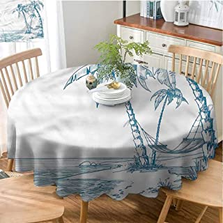Mannwarehouse Beach Easy Care Tablecloth Palm Trees at Beach Great for Buffet Table D71