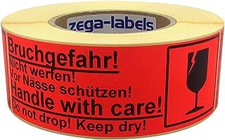 Warnetiketten auf Rolle - Bruchgefahr! Handle with care! - 500 Stück je Rolle - 150 x 50 mm - Leuchtrot Haftpapier stark haftend - Versandaufkleber - Paketaufkleber