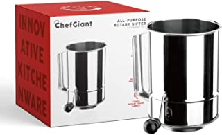 ChefGiant 5 Cup Flour Sifter Rotary Hand Crank Stainless Steel 16 Fine Mesh Screen, Corrosion Resistant Baking Sifter