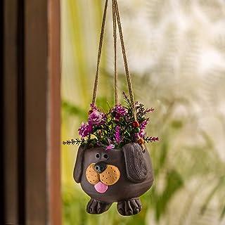 ExclusiveLane 'Swinging Dog' Handmade-Handpainted Terracotta Hanging Planters Pot for Outdoor Plants (5.5 Inch) - Garden D...