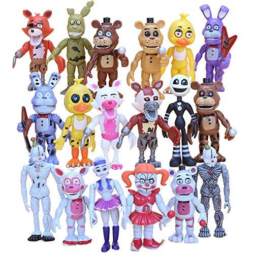 Qwead 18 Piezas / Set Five Nights At Freddy'S FNAF Funtime Foxy Freddy Ballora Ennard Doll Plushtrap 10Cm PVC Figuras De Acción Juguetes para Niños Colección De Cumpleaños Regalos