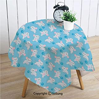 Elephants Decor Square Polyester Tablecloth,Happy Elephant Cartoon Playing Ball Kids Children Cheerful Fun Jolly Decorative,Dining Room Kitchen Square Table Cover,60W X 60L inches,