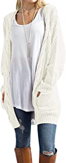 Women's Loose Open Front Long Sleeve Solid Color Knit Cardigans Sweater Blouses with Packets
