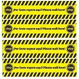 (SET 4) Pegatinas suelo distancia de seguridad para señalización de negocios pequeños,'Por Favor Espere Aqui' Please wait here', Espere su turno