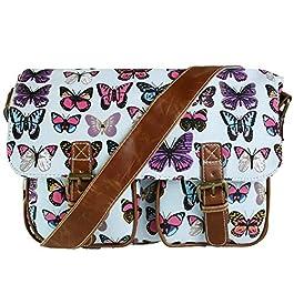 Miss Lulu Retro Vintage Chouette Feuilles Papillon en toile cirée ou Toile pour femme Cross Sacoche Messenger épaule…