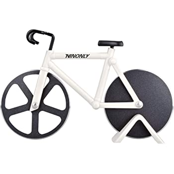Bicycle Pizza Cutter Wheel,Ninonly Non-stick Bike Pizza Slicer, Dual Stainless Steel Cutting Wheels With a Stand best for Pizza Lovers,Holiday Vacation Housewarming Cool Kitchen Gadget Cool Men's Gift