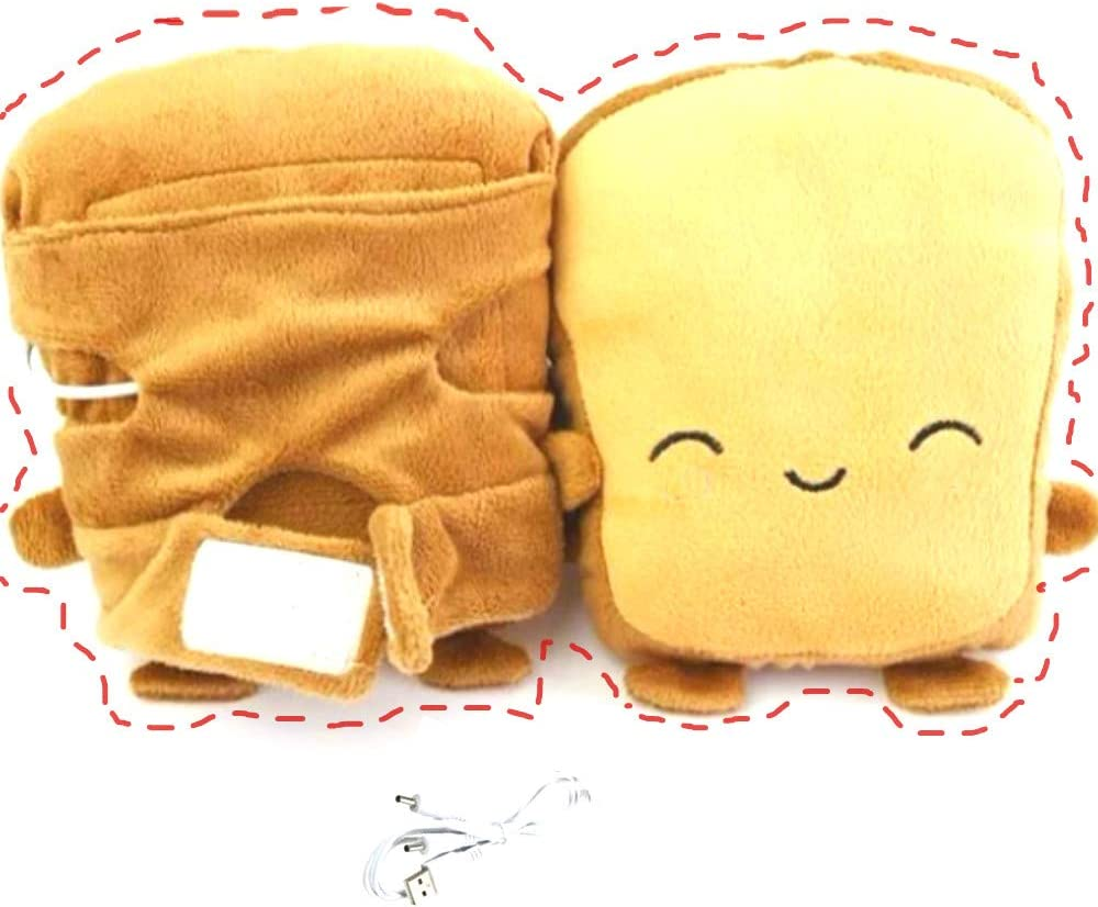 USB Hand Warmers Cute USB Heating Gloves Half Wearable Fingerless 5V USB Powered Heated Hand Warmer Gloves with Gift Box for Women and Children Winter Fashion (Yellow)