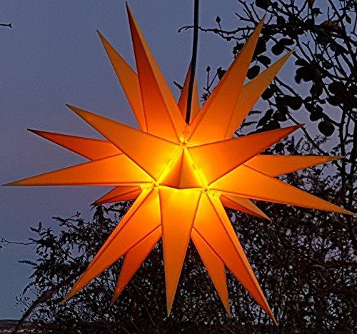 Mit LED 20-Zack Außenstern gelb, wetter- und frostbeständig, Outdoorstern inkl. Außenkabel/Außensterne, Leuchtmittel StaRt-NDL-DUH-E14-3,5W 104 SMD Dioden - kein störanfälliger Trafo nötig!