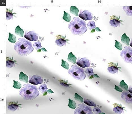 Lavender Lavender by backyarddesigner Floral  Spring Lavender Foliage  Cotton Sateen Table Runner by Spoonflower Watercolor Table Runner