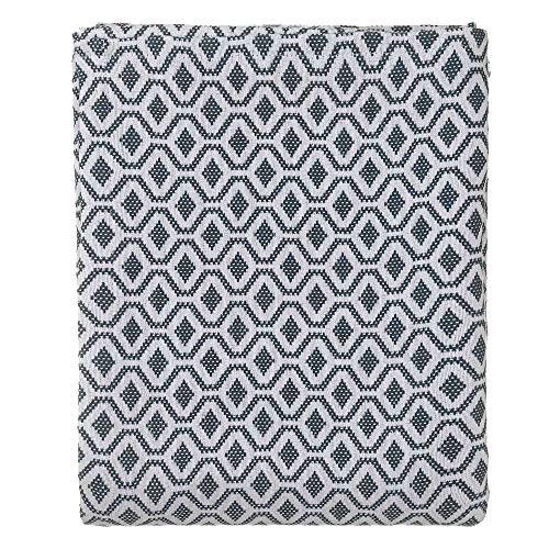 URBANARA 180x230 cm Tagesdecke/Plaid Viana Petrol/Weiß — 100% Reine Baumwolle — Ideal als Bettüberwurf oder Kuscheldecke — im Diamantmuster — geeignet für Einzel- und Doppelbett