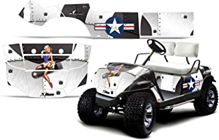 1995-2006 Yamaha Golf Cart AMRRACING ATV Graphics Decal Kit-T-Bomber-White