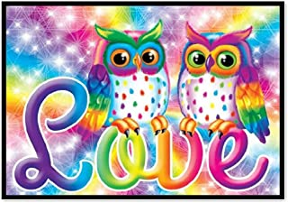 5D Diamond Painting Rhinestone Colorful Owl Love Embroidery Wallpaper DIY Cross Stitch Kit Crystal Full Drill Drawing for Adult Tools Home Decoration 30X25CM