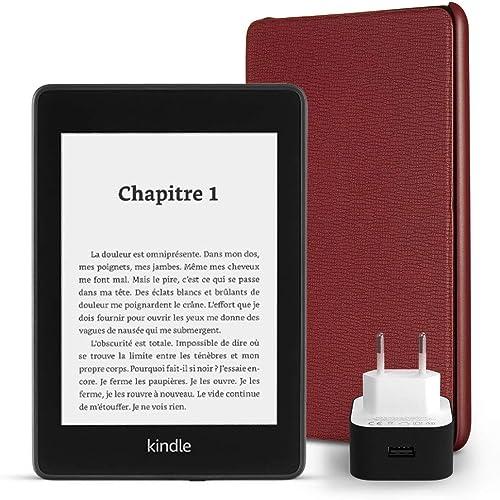 Pack essentiel comprenant la liseuse Kindle Paperwhite, 8 Go, avec offres spéciales et Wi-Fi, un étui Amazon en cuir ...