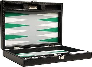 Silverman & Co. 13-inch Premium Backgammon Set - Travel Size - Black Board, White and Green Points
