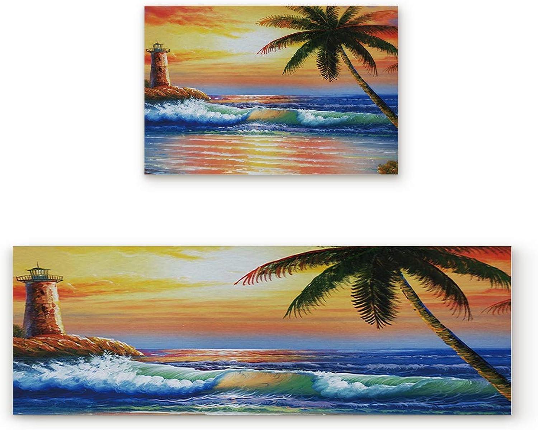 KAROLA 2 Piece Non-Slip Kitchen Mat Doormat Runner Rug Set Thin Low Pile Indoor Area Rugs Landscape Watchtower sea Coconut Tree Painting 19.7 x31.5 +19.7 x63