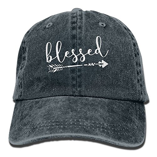 FUNINDIY Men and Women Blessed Letters Arrow Printed Vintage Jeans Baseball Cap