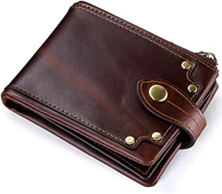 Genuine leather men's wallet clip zipper coin purse card case, brown