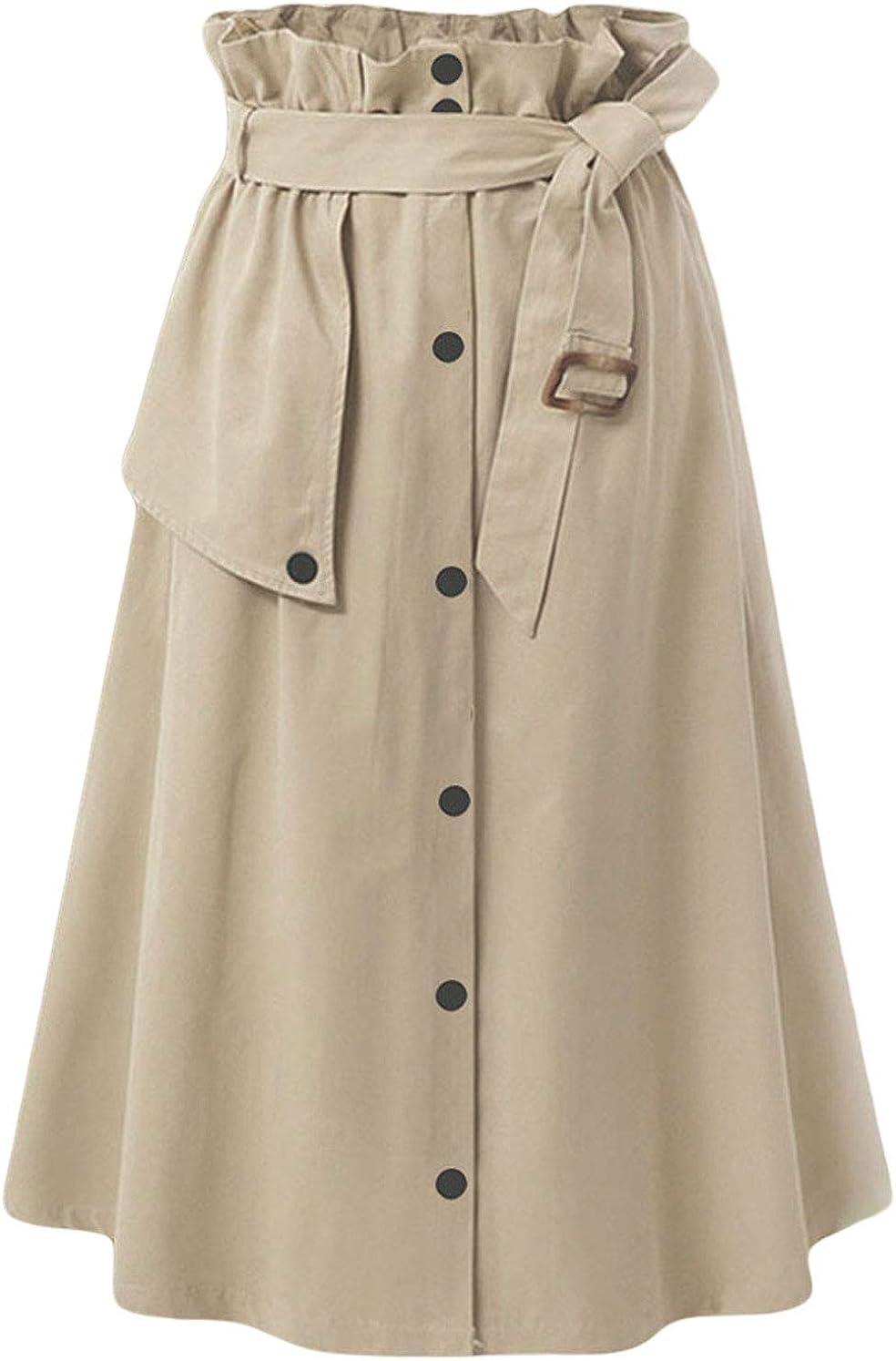 CHARTOU Women's Elegant Paper Bag High Waist Self-tie Flared Midi A-line Swing Skirt