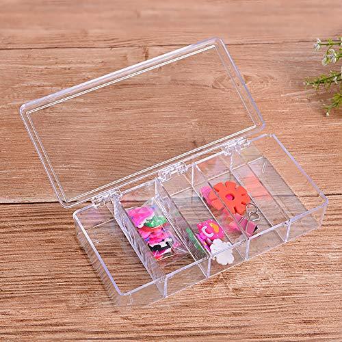 Super1798 - Caja de almacenamiento rectangular con 5 compartimentos, transparente y tapa con bisagras