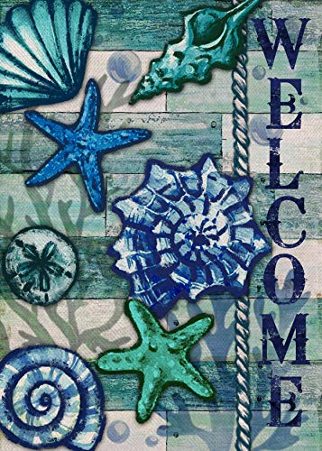Covido Home Decorative Welcome Summer Garden Flag, House Yard Tropical Starfish Shells Decor Beach Sign, Nautical Sea Spring Outside Decoration Seasonal Coastal Outdoor Small Flag Double Sided 12 x 18