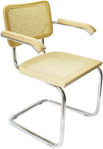 Marcel Breuer Cesca Cane Chrome Arm Chair In Natural