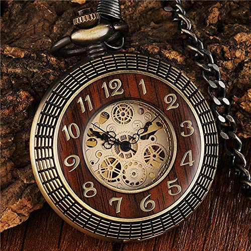 CAIDAI&YL Reloj de bolsillo mecánico con esfera de números tallados para hombre, único, hueco, bronce Steampunk mecánico, relojes de cadena, reloj