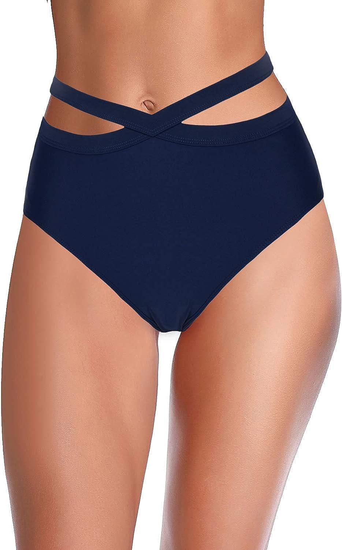 Hilor Women's High Waisted Bikini Bottoms Wrap Swim Brief Short Criss Cross Tankini Bathing Suit Bottom