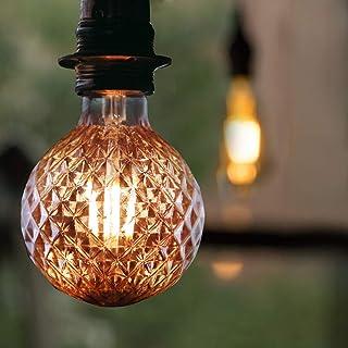 Bombilla LED vintage E27, GBLY 4W Bombilla Edison retro Decorativa con textura ⌀95mm Lámpara globo blanca cálida Lámparas antiguas doradas para nostalgia e iluminación retro, no regulables