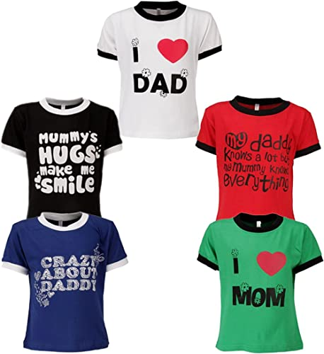 GOODWAY Boys Pack of 5 Mom and Dad Theme Printed T-Shirts(JB5PCKM&D-1_Multicolor)