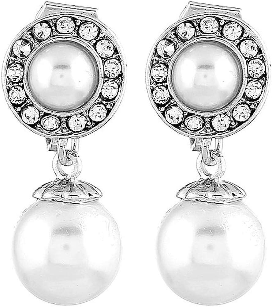 JOOVAYUN Women CZ Clip-On Pearl Earrings 14K Gold Plated Cubic Zirconia Dangle Earring Non Pierced Clip On Drop Earrings Jewelry Gift for Girl