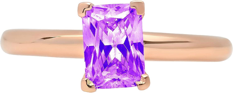 0.95ct Charlotte Mall Brilliant Oakland Mall Emerald Cut Solitaire Natural Amethyst I Purple