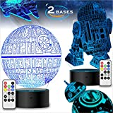 2 Bases 4 Patterns Star Wars Gifts 3D Illusion Lamp - Star Wars Toys LED Night Light for Kids Room Decor, 7 Color Change with Remote Timer, 2020 Cool Gifts for Men Star Wars Fans Boys Girls Birthday