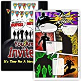 30 Superhero Birthday Party Invitations with Envelopes - Double Sided- Comic Book Style Superhero Party Invites - Superhero Party Supplies
